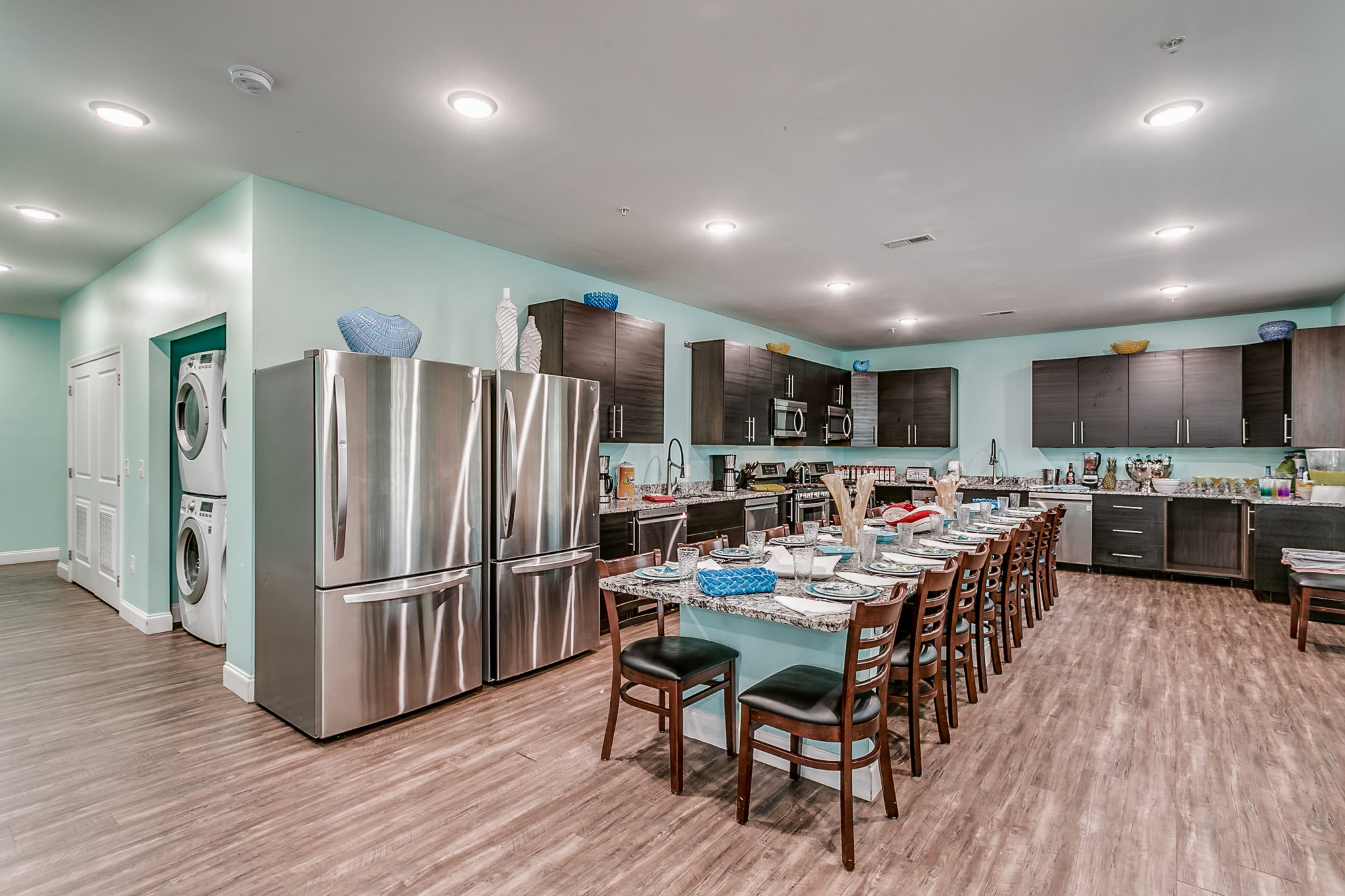 204 54th Ave - Unit B kitchen with long dining table.